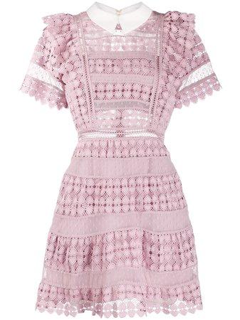 Self-Portrait Lace Ruffle Mini Dress   Farfetch.com