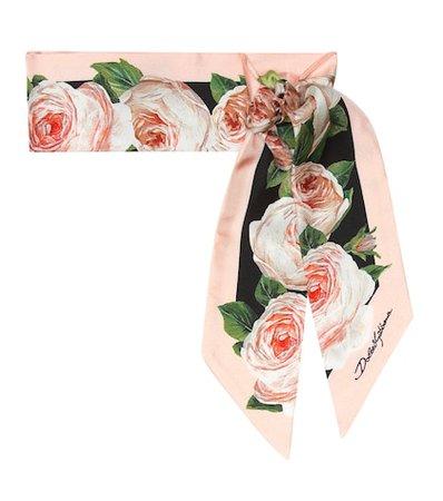 Floral silk twill scarf