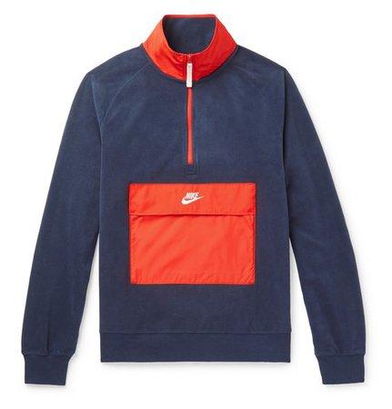 Nike - Colour-Block Shell-Trimmed Fleece Half-Zip Sweatshirt