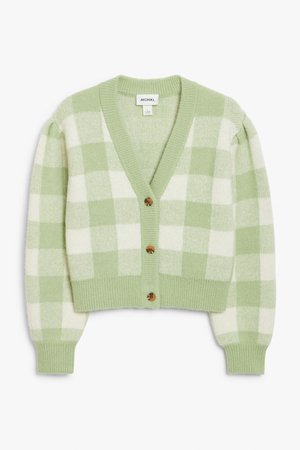 Cropped knit cardigan - Green and white checks - Cardigans - Monki WW