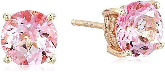 Rose Gold Plated Sterling Silver Baby Pink Topaz Stud Earrings made with Swarovski Topaz Gemstones