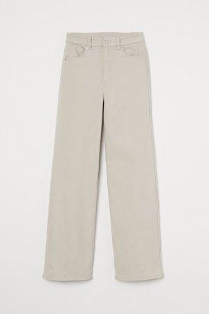 Wide-leg Twill Pants - Light beige - Ladies   H&M US