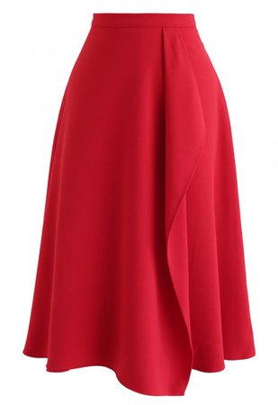 Asymmetric Flap Trim A-Line Midi Skirt in Red - Skirt - BOTTOMS - Retro, Indie and Unique Fashion
