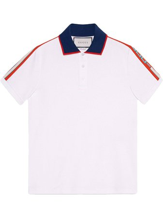 Shop white & red Gucci Cotton polo with Gucci stripe with Express Delivery - Farfetch