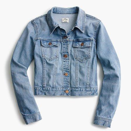 J.Crew: Petite Cropped Denim Jacket In Cavanal Wash