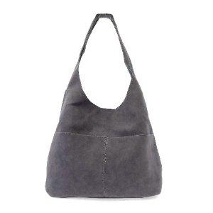 gray suede hobo bag