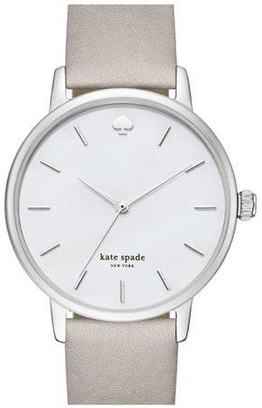 'metro' Round Leather Strap Watch, 34mm