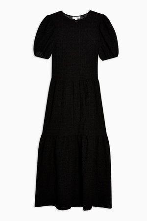 Black Textured Lace Midi Dress   Topshop