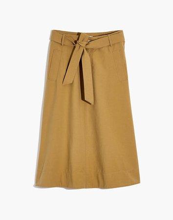 Tie-Waist Trench Midi Skirt