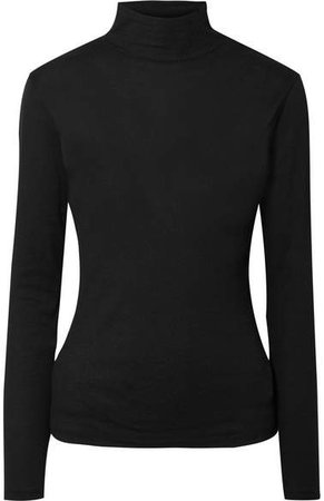Ninety Percent - Kaye Ribbed Organic Cotton-jersey Turtleneck Top - Black