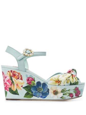 Dolce & Gabbana floral-print Wedge Sandals - Farfetch