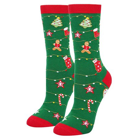 Women's Novelty Funny Christmas Crew Socks, Crazy Cookies Stockings Stuffer: Clothing