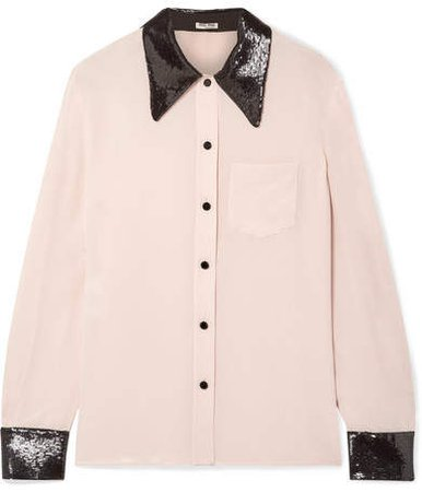 Sequined Silk Crepe De Chine Shirt - Blush