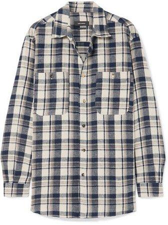 Helyntony Oversized Plaid Cotton Shirt - Midnight blue