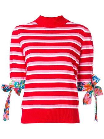 MSGM striped short sleeved jumper - Red