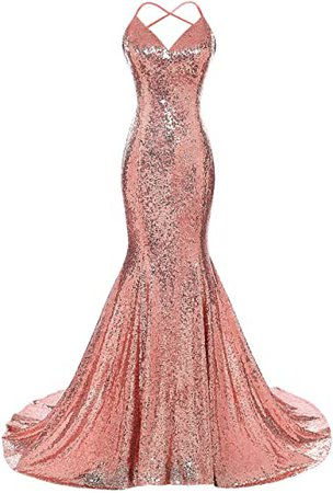 Dys Women's Sequins Mermaid Prom Dress Spaghetti Straps V Neck Backless Gowns at Amazon Women's Clothing store