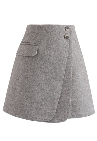 Double Flap Wool-Blend Mini Skirt in Grey - Retro, Indie and Unique Fashion