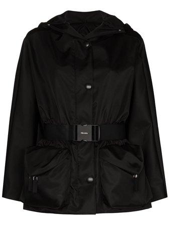Prada belted long raglan sleeve jacket - FARFETCH