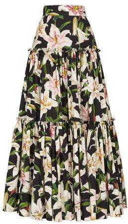 Lilium Print Tiered Poplin Maxi Skirt - Womens - Black Print