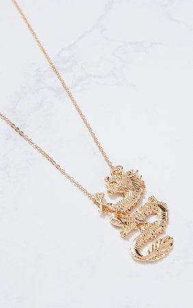 Gold Dragon Pendant Necklace   PrettyLittleThing