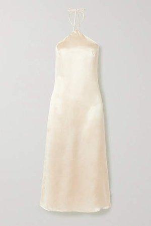 Reggie Silk-satin Halterneck Midi Dress - Ivory
