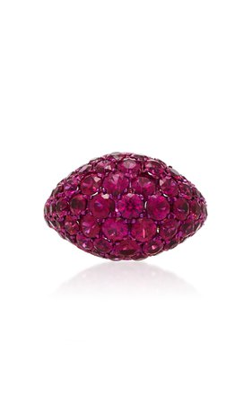 Busatti America 18K Rose Gold Titanium and Ruby Ring