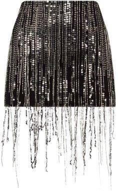 black fringe glitter sequin skirt
