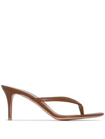 Gianvito Rossi Calypso Flip-Flop Sandals G1126070RICVIT Brown | Farfetch