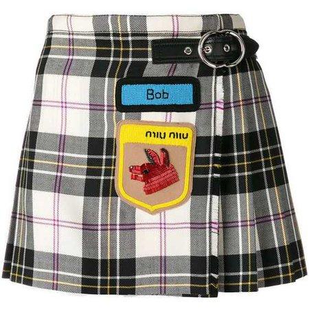Miu Miu Embroidered Tartan Mini Skirt