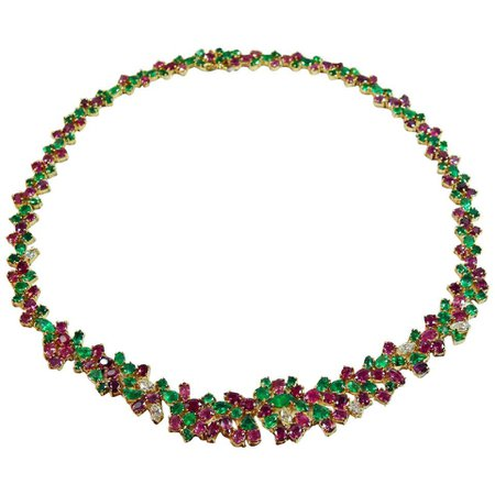 One of a Kind Tutti Frutti 61.00 Carat Emerald Ruby Diamond Necklace 18K For Sale at 1stDibs