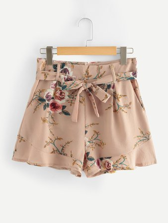 Ruffle Hem Self Tie Waist Shorts