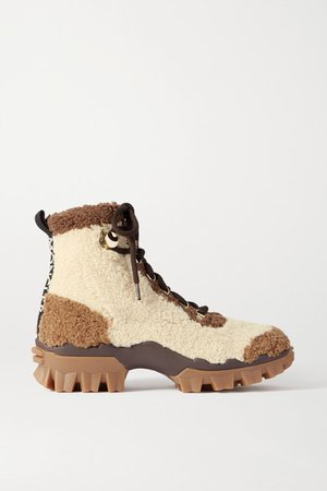 Helis Logo-print Shearling Ankle Boots - Tan