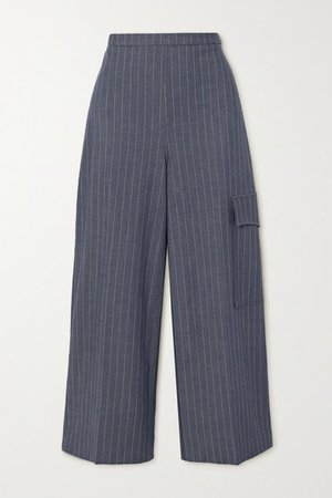 Pinstriped Twill Wide-leg Pants - Navy
