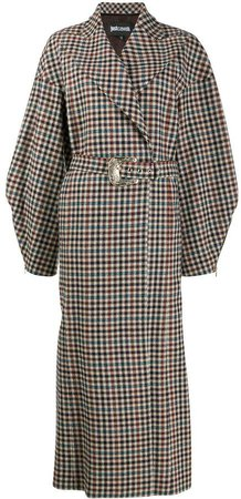 belted checked coat