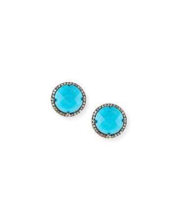 Margo Morrison Faceted Stone & Diamond Button Stud Earrings   Neiman Marcus