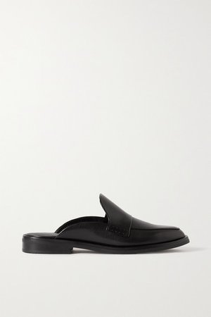 Alexa Leather Slippers - Black