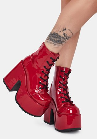 *clipped by @luci-her* Demonia Camel 203 Platform Boots - Patent Red | Dolls Kill