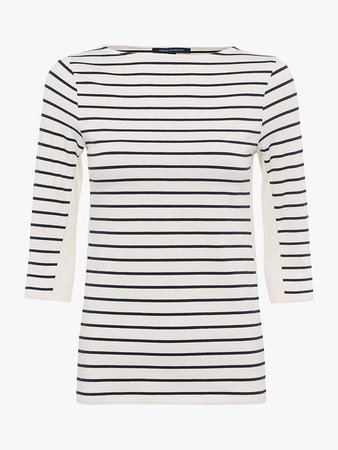 French Connection Tim Tim Block Panel Stripe Top, Neutral at John Lewis & Partners