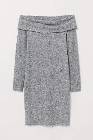 Off-the-shoulder Dress - Gray