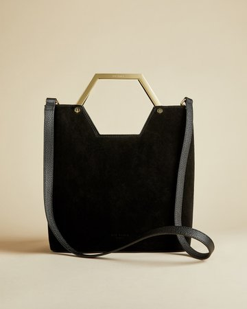 Leather and suede hexagon handle shopper bag - Jet Black   Shopper Bags   Ted Baker ROW
