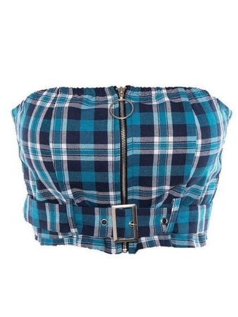 Blue strapless plaid crop top