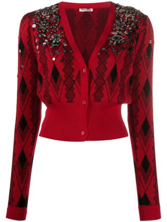 Miu Miu crystal-embellished Cropped Cardigan - Farfetch
