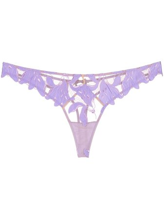 Fleur Du Mal | Lily embroidered thong