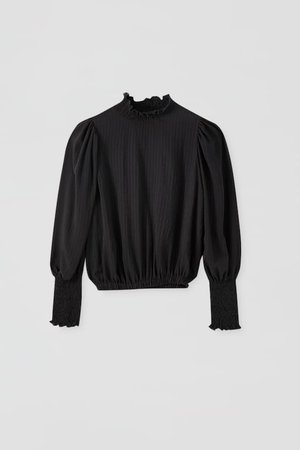 Black blouse with shirred detail - PULL&BEAR