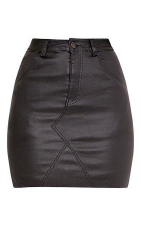 Eviane Black Coated Denim Skirt | PrettyLittleThing USA
