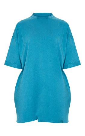 *clipped by @luci-her* Teal Oversized Boyfriend T-Shirt Dress | PrettyLittleThing USA