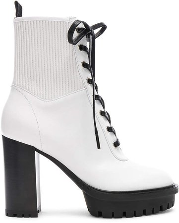 Leather & Eco Stretch Martis Platform Ankle Boots in White | FWRD
