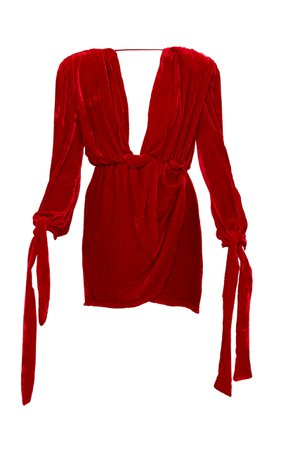 Mach & Mach Red Velvet Julia Dress