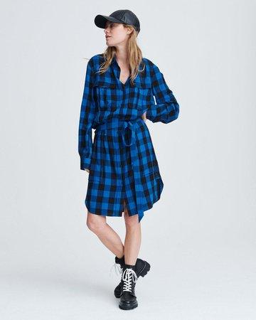 Beck Button Down Dress in Blue Check | rag & bone