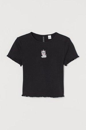 Short Top - Black cats - Ladies | H&M US